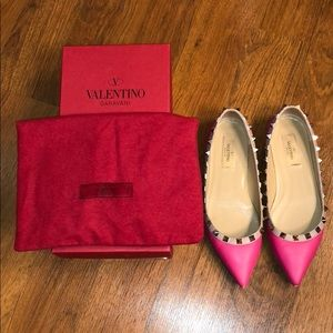 Valentino Pointed Hot Pink Leather Flats in Size37